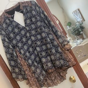 FREE PEOPLE gorgeous flowy backless tunic blouse S
